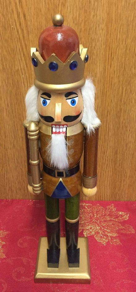 Hand Painted Wooden Nutcracker Traditional Christmas Ornament ~ Brown Crown 38 cm